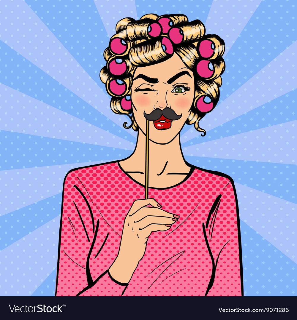 Woman winks attractive girl with curlers vector