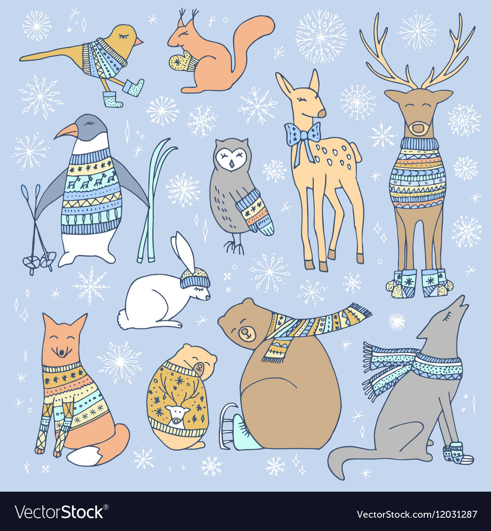 Christmas animals set vector