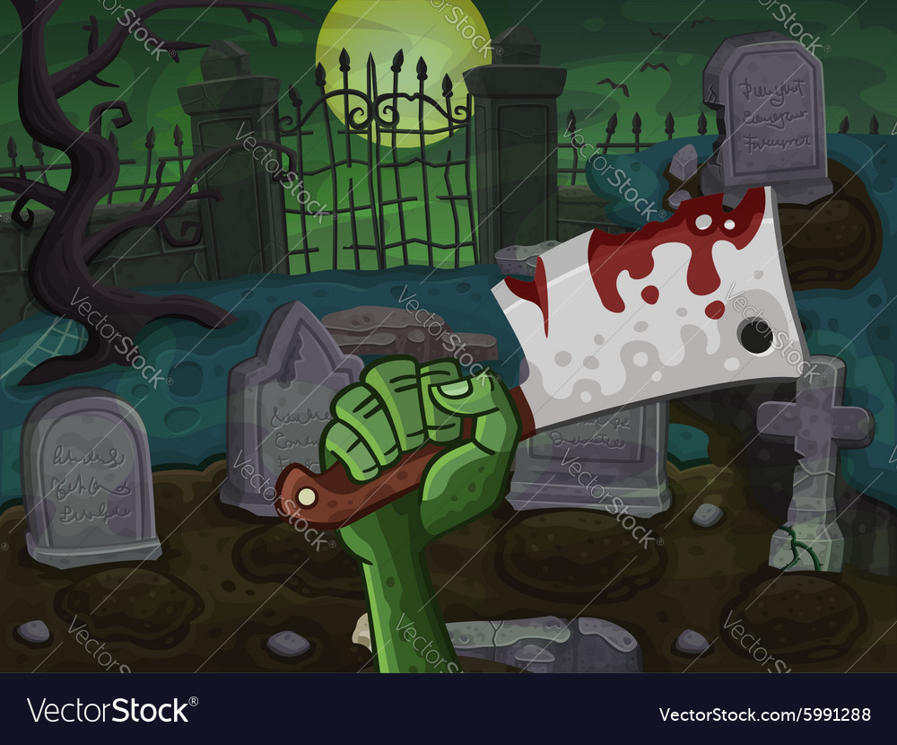 Back with zombie hand vector