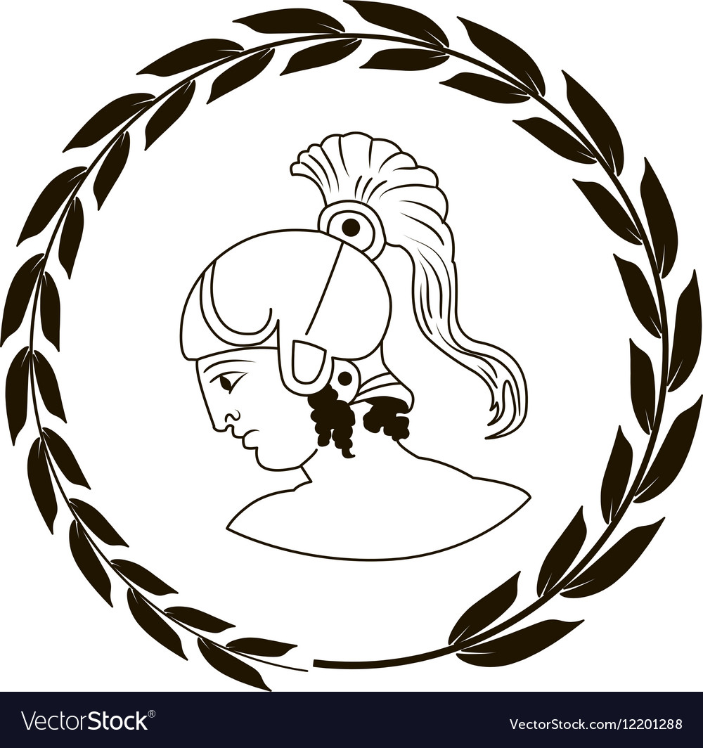 Logo with head of the ancient greek warrior vector