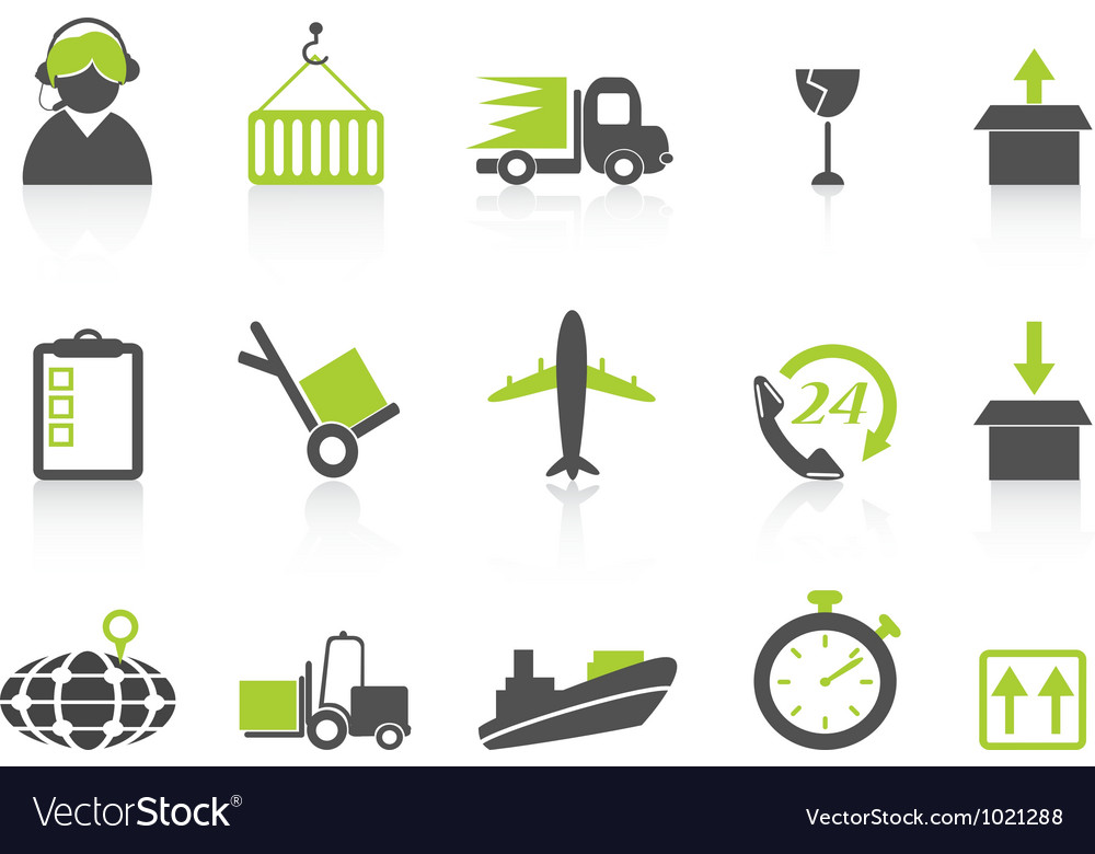 Simple logistics and shipping icons green series vector