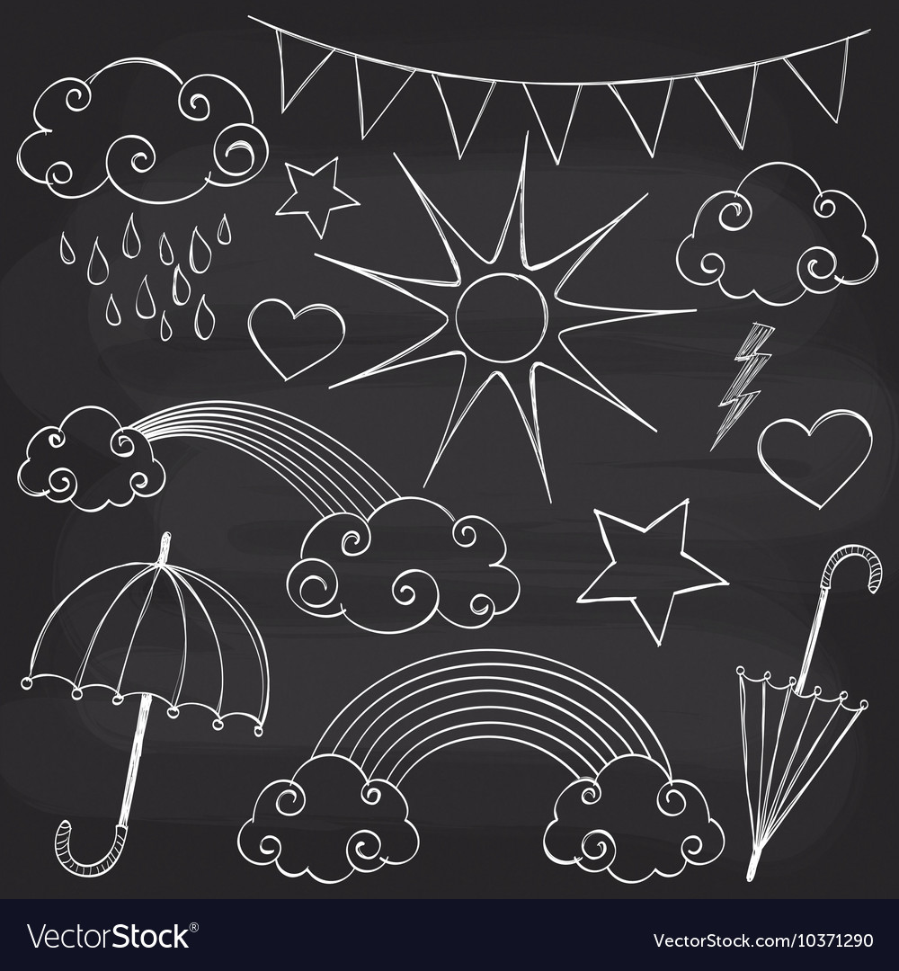 Chalkboard weather set vector