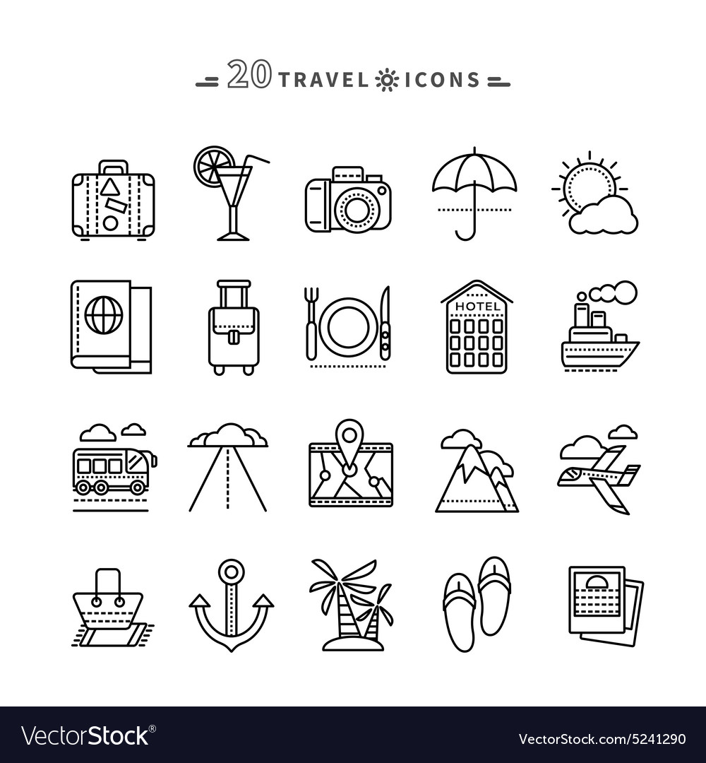 Set of outline travel icons on white background vector