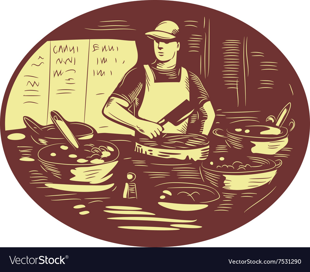 Taco cook in food stall oval retro vector