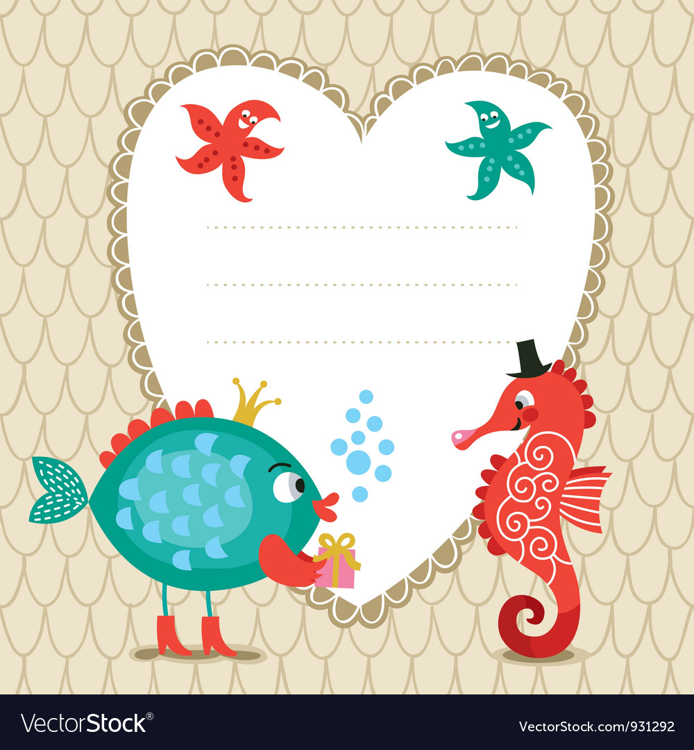 Greeting card with cute fish and seahorse vector