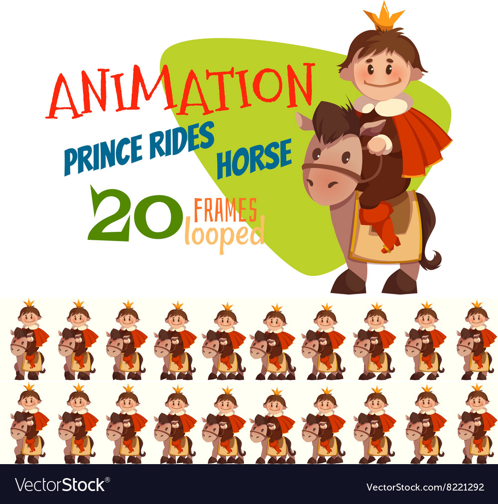 Horse with prince in flat vector