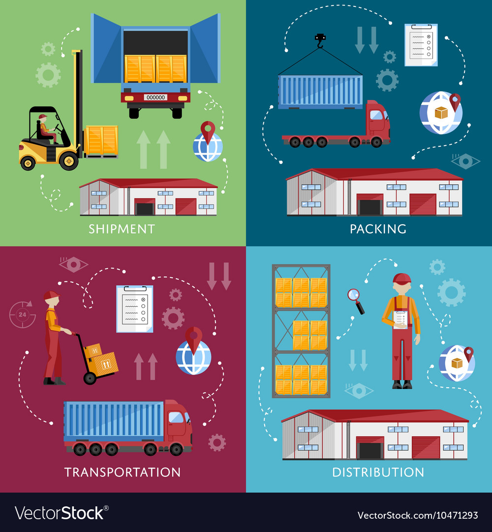 Warehouse management concept flat design vector