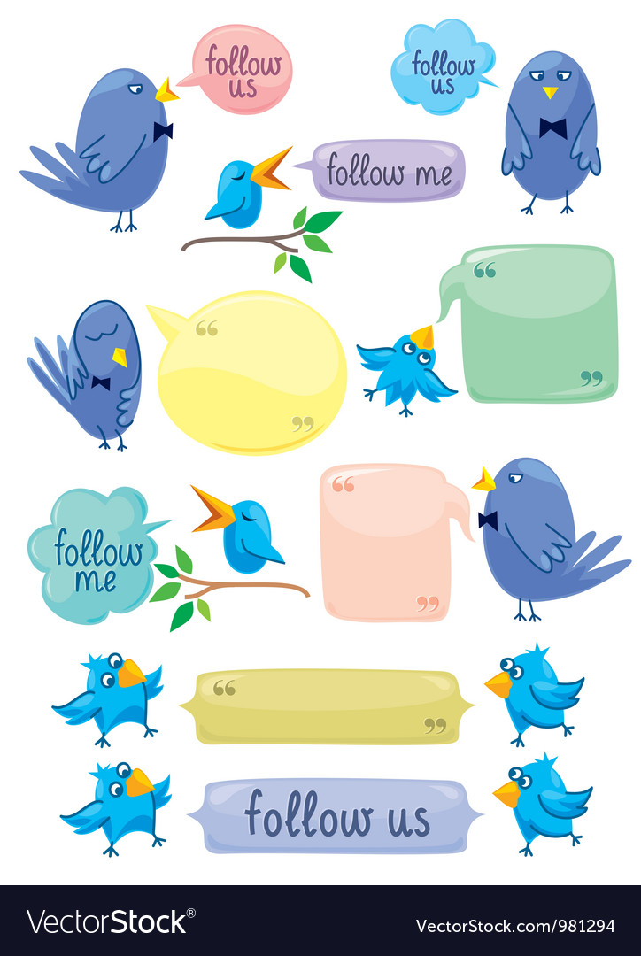 Blue birds with color bubbles vector