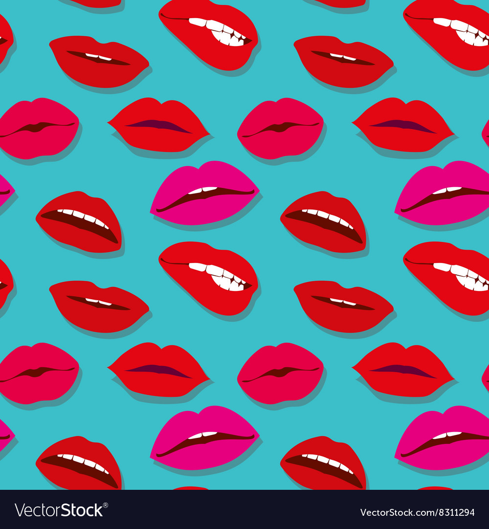 Makeup seamless pattern with lips vector