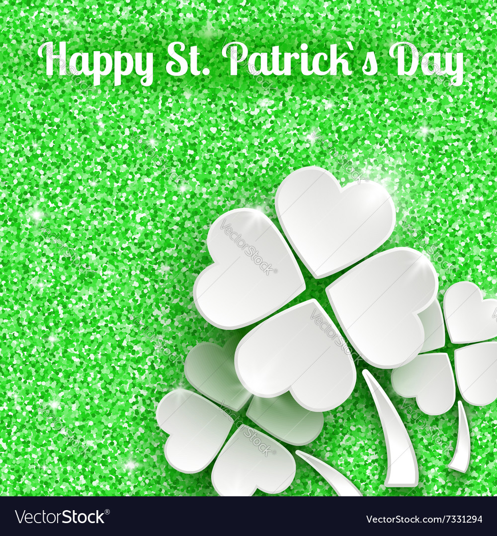 St patricks day greeting card with 3d white paper vector
