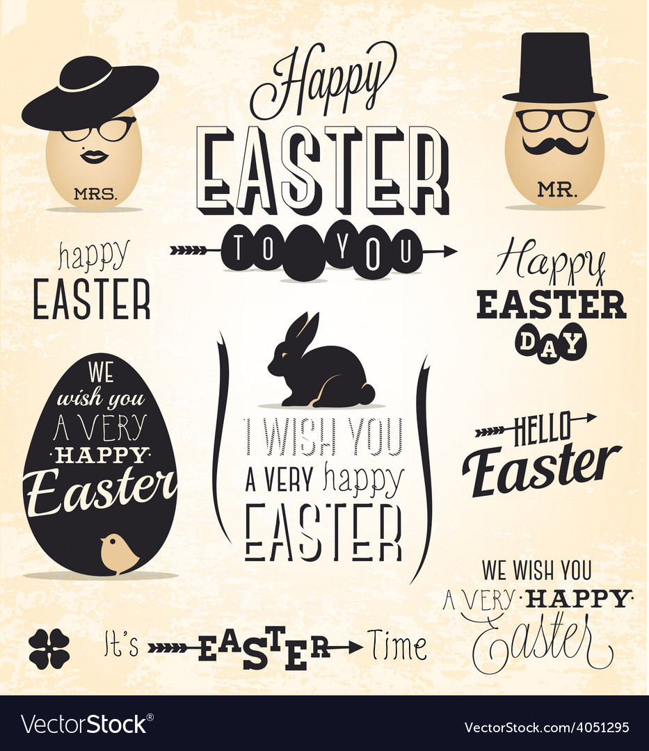 Easter greeting card design elements vector