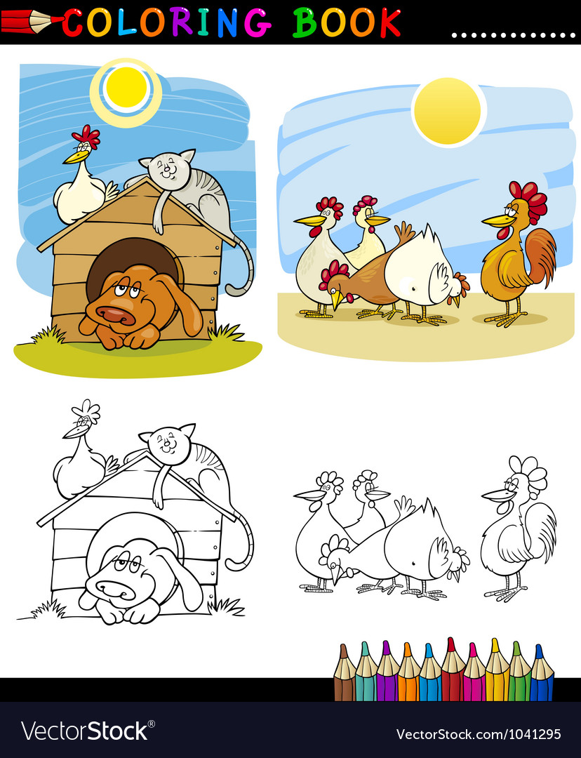 Farm and companion animals for coloring vector