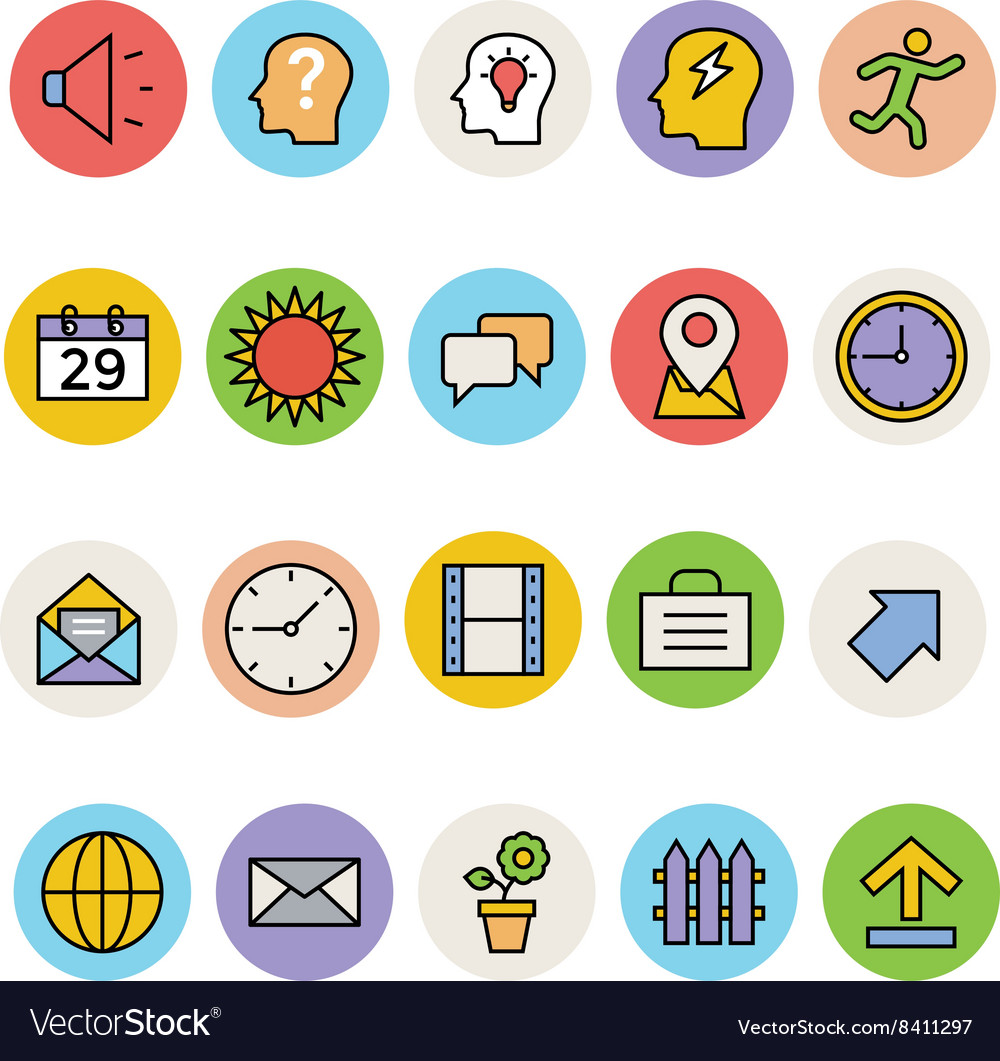 Basic colored icons 5 vector