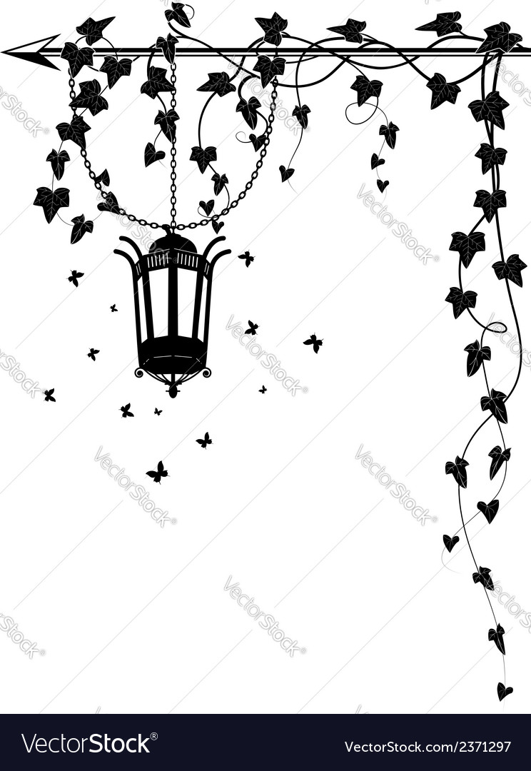 Ivy border with street lamp vector