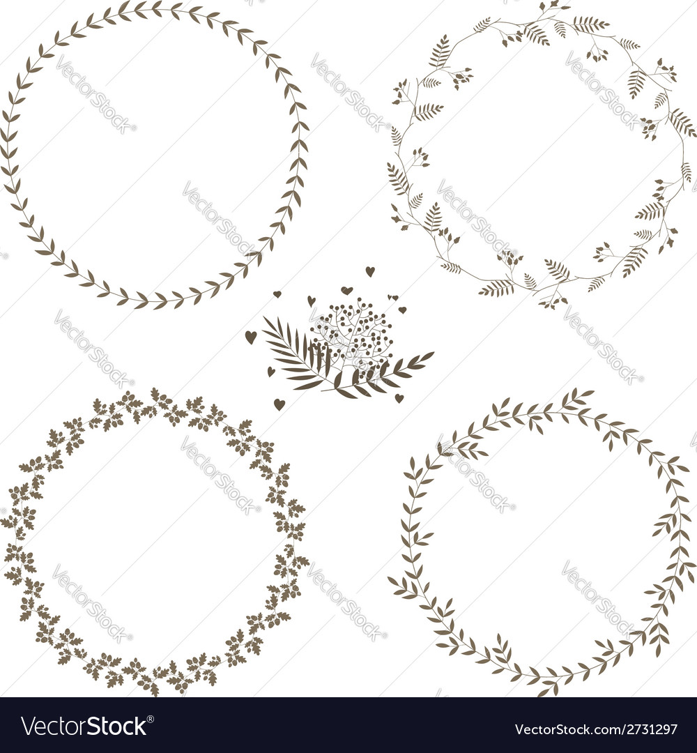 Set of 4 circle cute hand drawn frames vector