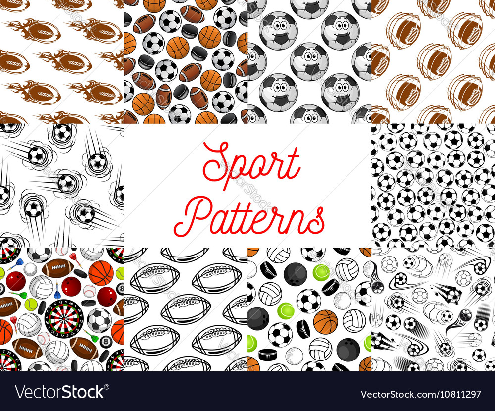 Sport balls seamless patterns vector