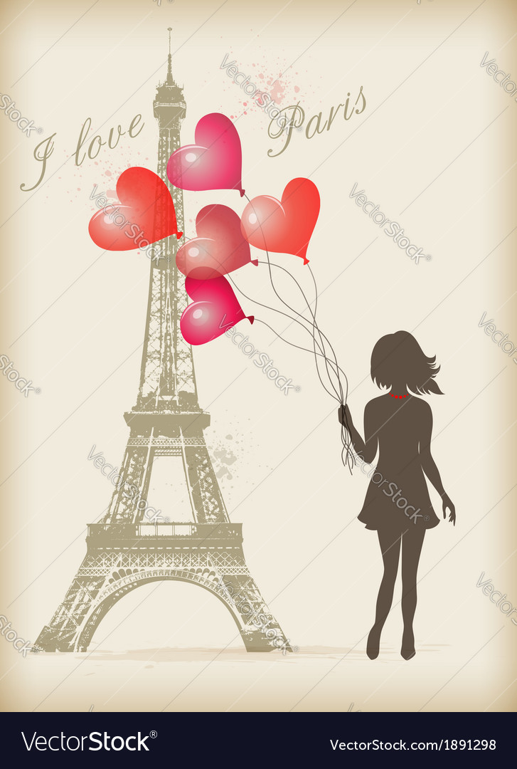 Girl with red balloons vector
