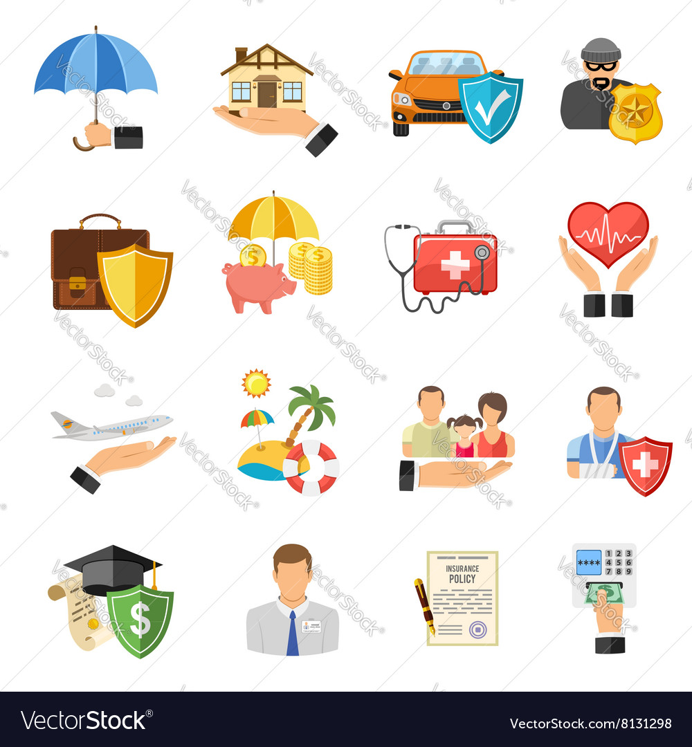 Insurance flat icons set vector