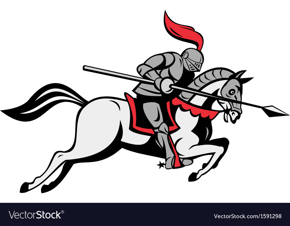 Knight with lance riding horse vector