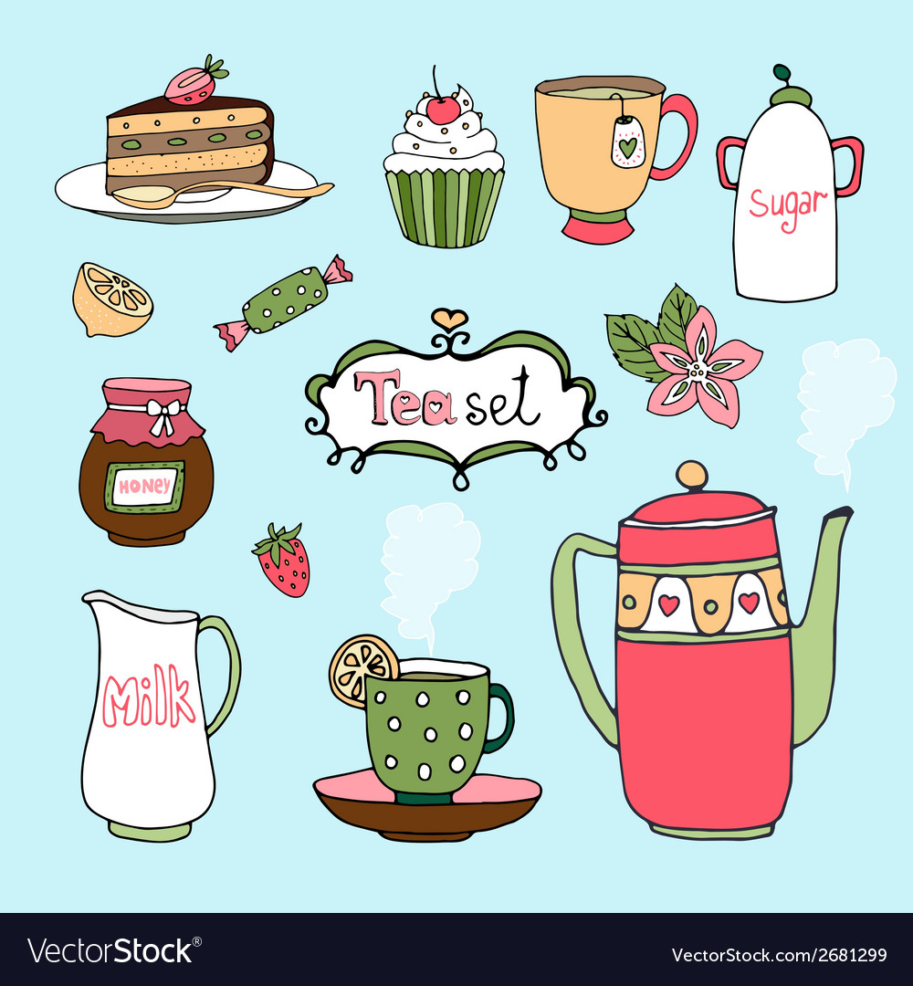 Handdrawn tea set and cake icons vector