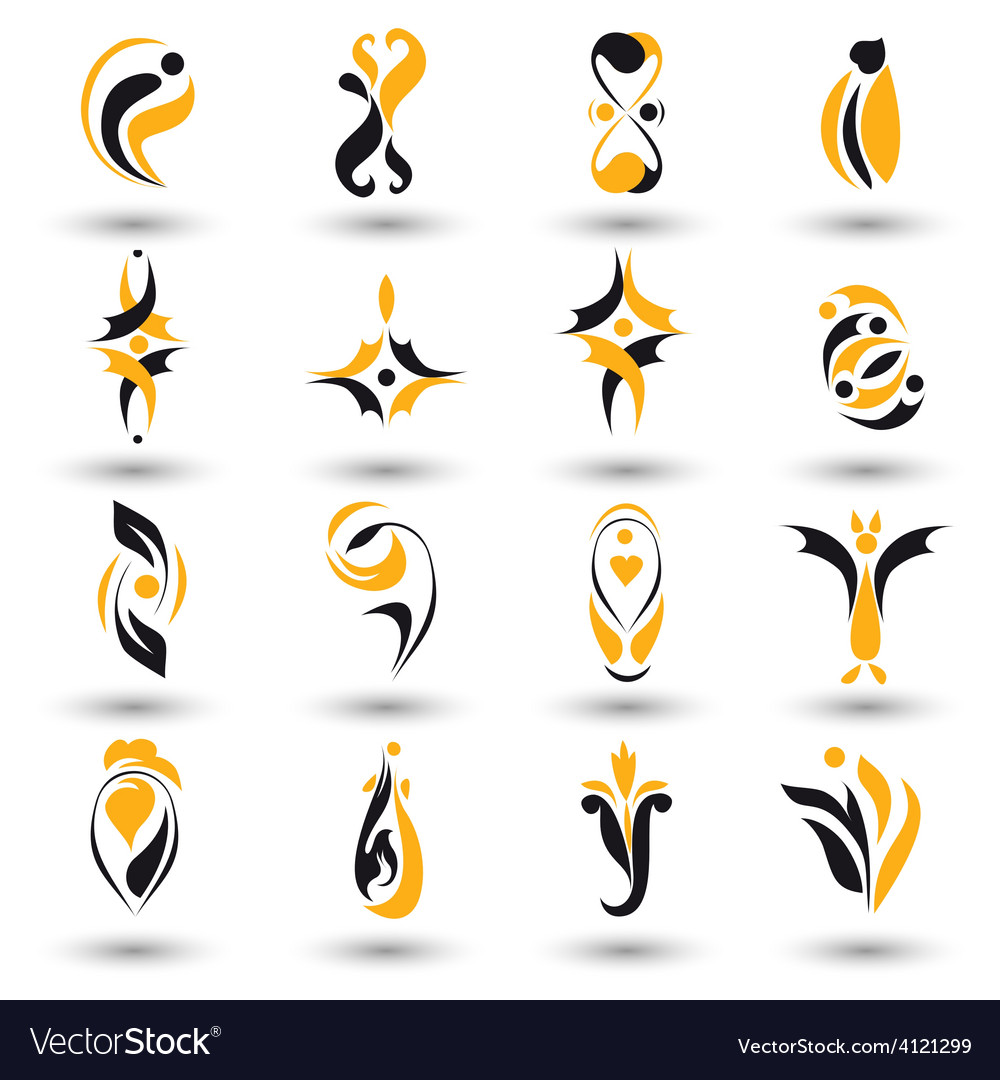 Set of different yellow abstract flat elements vector