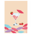 Strawberry cocktail Summer Sun Party vector image