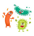 virus germ bacteria characters with human faces vector image
