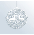 White Merry Christmas bauble ornament vector image vector image