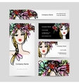 Business cards design with female floral head vector image vector image