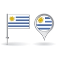 Uruguayan pin icon and map pointer flag vector image