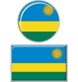 Rwanda round and square icon flag vector image vector image