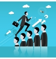 Businessman step on other people head in the way vector image