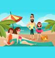 family on a beach cartoon vector image