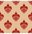 Red foliate seamless arabesque pattern vector image