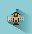 school building icon with shadow on blue vector image