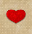 Red grunge heart for Valentine Day vector image