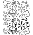 Set of black isolated environmental hand drawn vector image