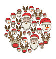 colorful round pattern of christmas faces vector image