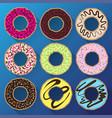 donut minimalistic flat set with sweet cream vector image