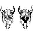 skull in helmet with horns vector image