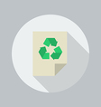 Eco Flat Icon Recycle document vector image