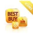glossy yellow orange metallic button vector image