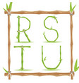 bamboo letter alphabet green set e vector image