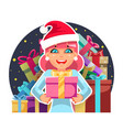 christmas cute cartoon girl hold gift box in hands vector image