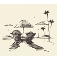 Couple tropical beach drawn sketch vector image