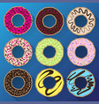donut minimalistic flat set with sweet cream vector image