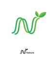 n letter logo initial line nature leaf logo green vector image