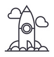 project rocket launch line icon sign vector image