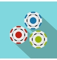 Red blue and green casino tokens flat icon vector image