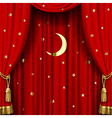 Red curtain with gold tassels vector image